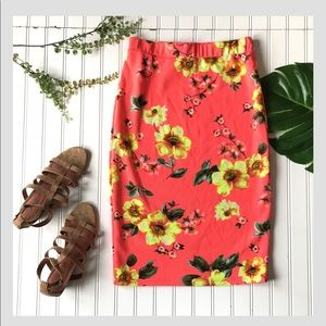 Floral pencil skirt orange yellow bright stretch
